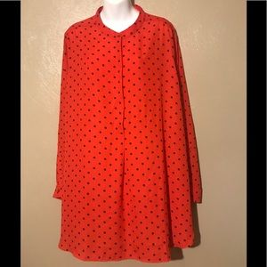 Denim 24/7 red polka dotted blouse size 24W